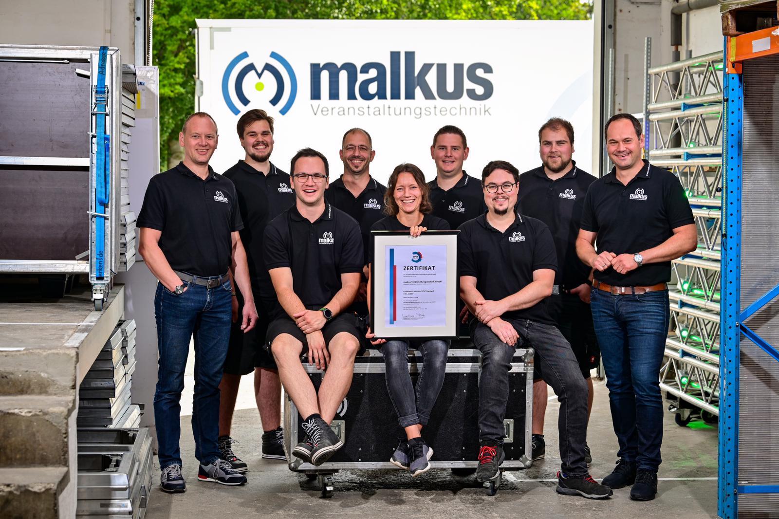 malkus-Team mit DPVT-Zertifikat (Foto: malkus GmbH)